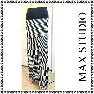 {Max Studio} b&w tiered stripes maxi skirt, sz L